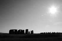 Stonehenge, tourists and the sun B&W by Gautam Tingre