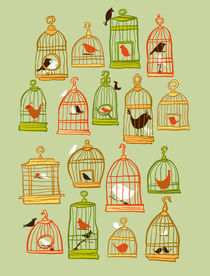 Bird Cages on Green by sheena hisiro