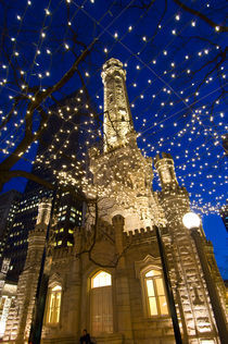 Old Water Tower with holiday lights by Danita Delimont