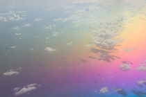 Caribbean: Clouds & Rainbow Colored Water from the Air by Danita Delimont