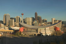 Calgary: City Skyline from Ramsay Area / Morning with Saddledome von Danita Delimont