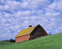 Red barn and clouds by Danita Delimont