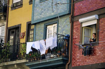 Woman hanging laundry from window in the historic riverside Ribeira district by Danita Delimont