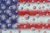 Flag reflected in water drops by Danita Delimont