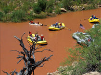 Oar powered rafts turn into the Colorado River where it meets the Little Colorado River deep inside the Grand Canyon by Danita Delimont