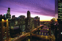 Chicago skyline and river looking west at sunset by Danita Delimont