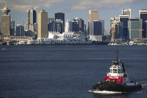 Downtown city skyline and tugboat on Burrard Inlet von Danita Delimont