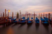 Anchored gondolas at twilight by Danita Delimont