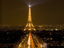 Nighttime view of Eiffel Tower and Champs Elysees (digital composite) by Danita Delimont