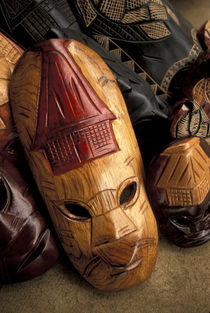 Viti Levu Masks at a town market by Danita Delimont
