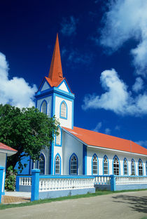 Colorful church on the island of Tahaa in the Society Islands of French Polynesia by Danita Delimont