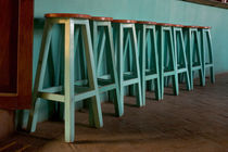 Green Bar Stools line wall inside Roof Top Cafe near the Iglesia de Santo Domingo and the city's historic Zocalo by Danita Delimont