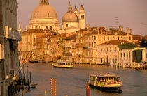 Sunset view of canal Grande towards Santa Maria della Salute Church by Danita Delimont