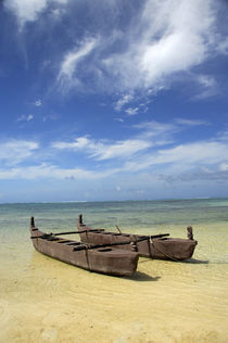 Traditional double-hulled canoe on beach by Danita Delimont