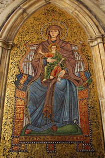Madonna & child mosaic on church wall by Danita Delimont