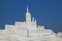 Harbin International Sun Island Snow Sculpture Art Fair--French Chateau made of snow by Frozen Sun Island Lake von Danita Delimont
