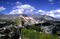 Potala Palace on mountain range from another mountain the home of the Dalai Lama in capital city of Lhasa Tibet China by Danita Delimont