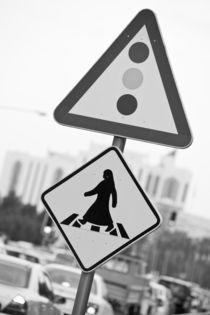 Arabian Pedestrian Crossing Sign / Al-Corniche Street by Danita Delimont