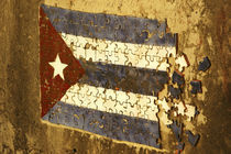 Mosaic puzzle of the cuban flag in decomposition on a rundown wall by Danita Delimont