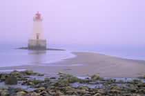 Sandy Point lighthouse on a foggy morning by Danita Delimont