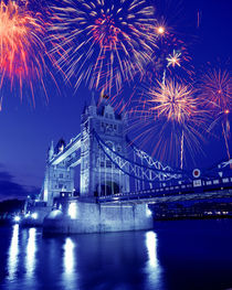 Fireworks over the Tower Bridge by Danita Delimont