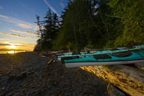 Sea kayaks and sunrise on Johnstone Strait by Danita Delimont