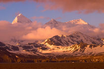 Sunrise over the mountain ranges on South Georgia Island by Danita Delimont