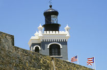 Fuerte San Felipe del Morro's grey castellated lighthouse in Old San Juan Puerto Rico by Danita Delimont