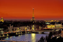Sunset view of Eiffel Tower and Seine River by Danita Delimont