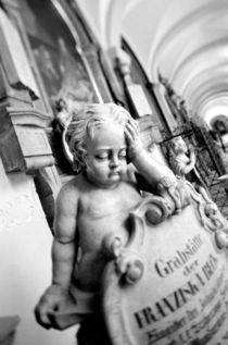 Cherub and monument at Sebastianskirche Cemetary by Danita Delimont
