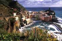 Beautiful Village of Vernazza in the Cinque Terre Area of Italy along Ocean by Danita Delimont