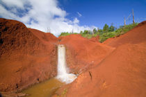 Small Waterfall in Red Earth by Danita Delimont