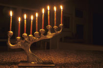Menorah with all candles lit for Chanukah by Danita Delimont