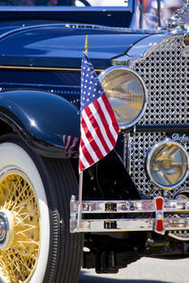 Vintage Packard auto decorated with American flag in July Fourth parade by Danita Delimont