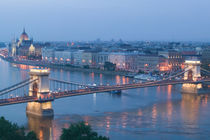 Parliament & Danube River from Castle Hill / Evening by Danita Delimont