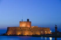 Rhodes Town: Lighthouse of Agios Nikolaos / Mandraki Harbor / Dawn by Danita Delimont