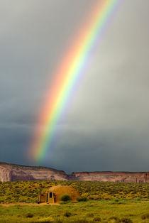 Rainbow over a Navajo hogan von Danita Delimont