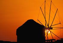Sunrise with Mykonos windmills by Danita Delimont