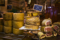 Local cheeses and charcuterie (cured meats) at shop in Calvi offering products of Corsica by Danita Delimont