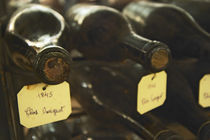 Two old bottles of Clos de Vougeot 1845 and one bottle from 1846 by Danita Delimont