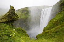 Skogarfoss Waterfall plunges over a volcanic cliff by Danita Delimont
