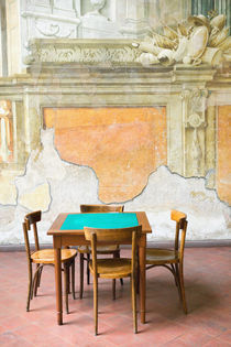 Campania (Sorrento Peninsula) Sorrento: Table & Wall at the 15th century Sedile Dominova Social Club by Danita Delimont