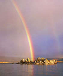 Rainbow over tufa formations on Mono Lake by Danita Delimont