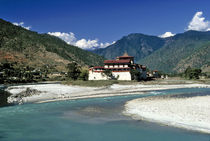 The Mo Chhu River flows past Punaka Dzong in Bhutan by Danita Delimont
