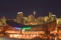 Calgary: City Skyline from Ramsay Area / Evening with Saddledome by Danita Delimont