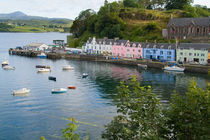 Beautiful port and sailboats with reflections in small tourist village of Portree in Isle of Skye Western Highlands Scotland by Danita Delimont