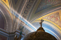 Sun's rays penetrate interior of Roman Catholic church by Danita Delimont