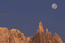 Patagonia Parque Nacional los Glaciares Moon over Cerro Torre Range shortly after sunrise by Danita Delimont