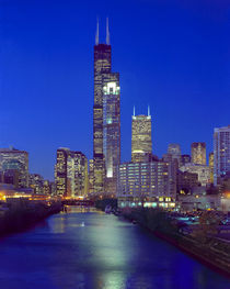 Skyline at night with Chicago River and Sears Tower by Danita Delimont
