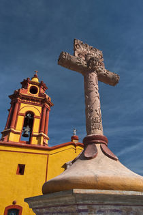 View of Iglesia de San Sebastian Church and cross by Danita Delimont